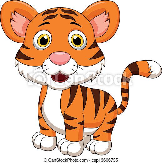 Cute baby tiger cartoon - csp13606735