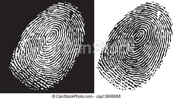 Clipart Vector of Fingerprint - Black and white finger print ...