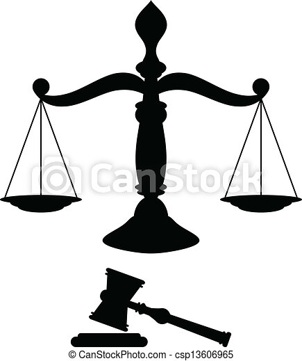 Clip Art Vector of Scales of justice - Black silhouette of scales ...
