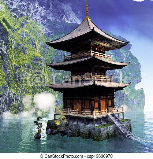 illustrations de montagnes temple bouddhiste buddhist