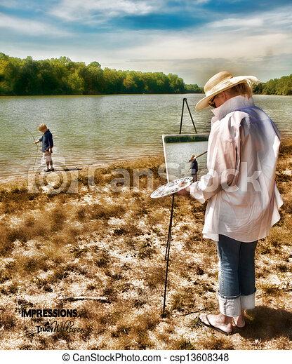 Woman Painting Son at Lake - csp13608348