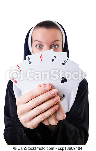 Nun in the gambling concept - csp13609484