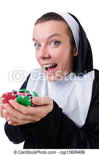 Nun in the gambling concept - csp13609486