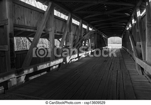 Old covered wooden bridges interior - csp13609529