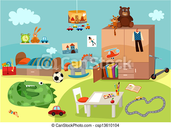 Vector Clipart Of Chilgrens Room Vector Illustration Of
