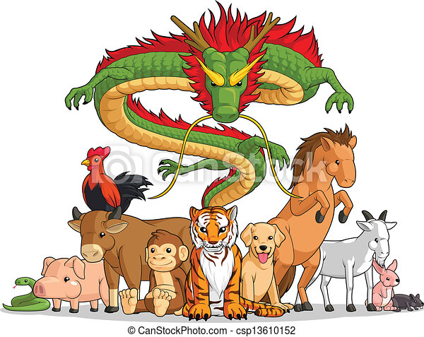 All 12 Chinese Zodiac Animals Toget - csp13610152