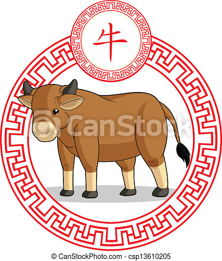 Vector Clipart of Chinese Zodiac Animal - Ox - A vector image of a ...