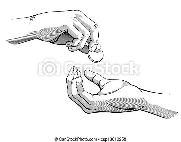 mains, Donner, &, Réception, argent - csp13610258