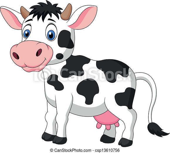 Cute cow cartoon - csp13610756