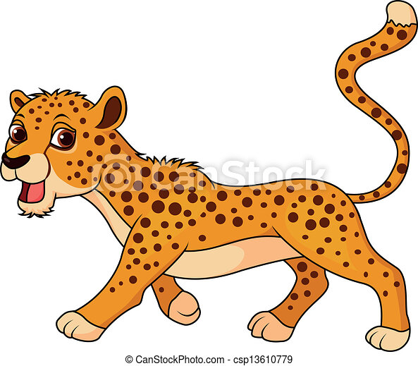 Cute cheetah cartoon - csp13610779