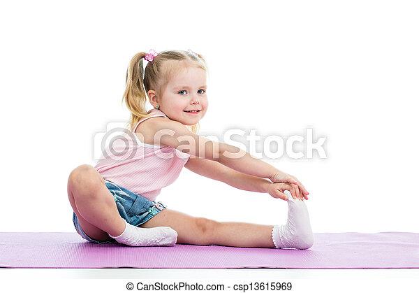 Little girl doing fitness exercises - csp13615969