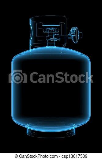 propano, tanque,  (3D, radiografía, azul,  transparent) - csp13617509