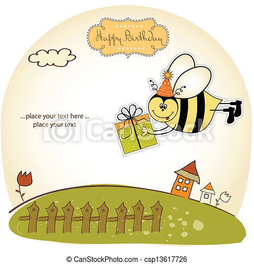 birthday card with bee - csp13617726
