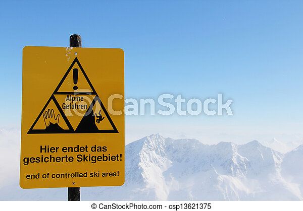 Danger sign in Mountains