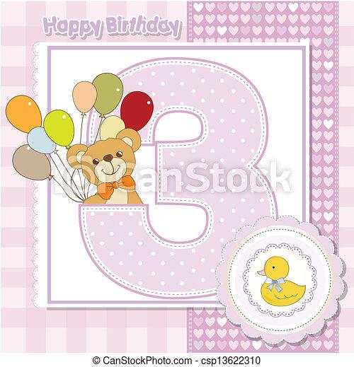 the third anniversary of the birthday card - csp13622310