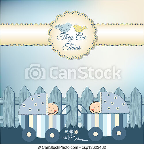 Vector of twins baby shower invitation csp13623482 - Search Clip Art ...