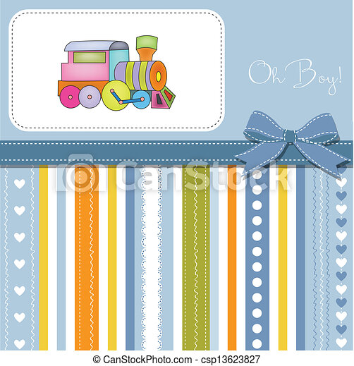 baby  shower card with toy train - csp13623827