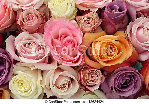 stock foto von pastell braut blumen schatten pastel rosen in a csp13624424 suchen. Black Bedroom Furniture Sets. Home Design Ideas