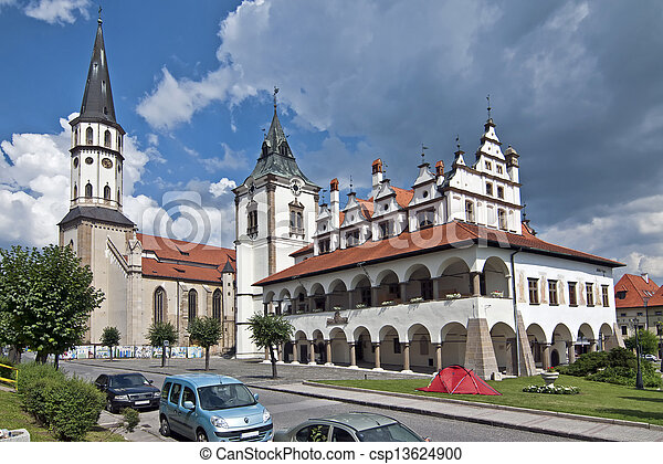 Levoca - Town hall and Saint Jacob s church - csp13624900