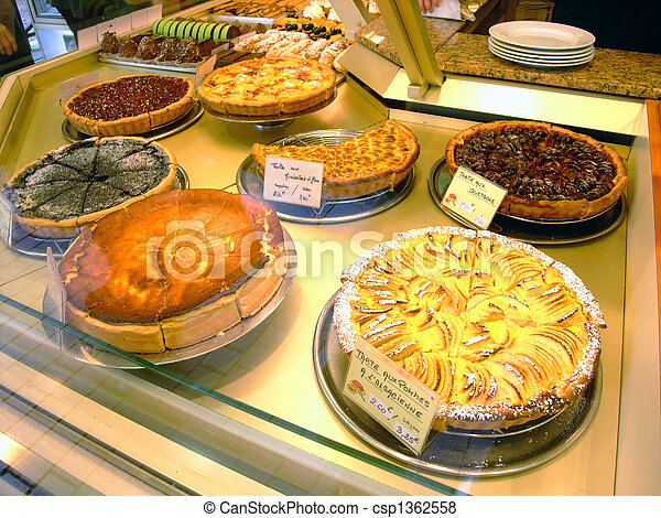 Display of pies in a french bakery - csp1362558