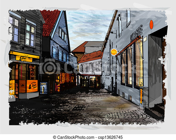 Illustration of city street. Watercolor style. - csp13626745