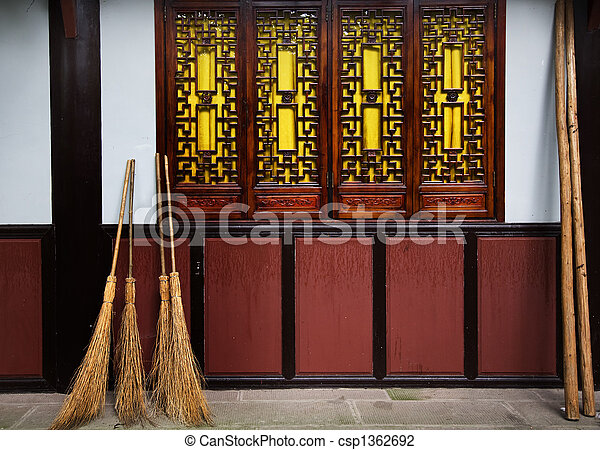 Straw Brooms Windows Wall Baoguang Si Shining Treasure Buddhist Temple Chengdu Sichuan China Front of Temple 
