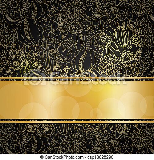 Eps Vectores De Dorado Floral Plano De Fondo Oro