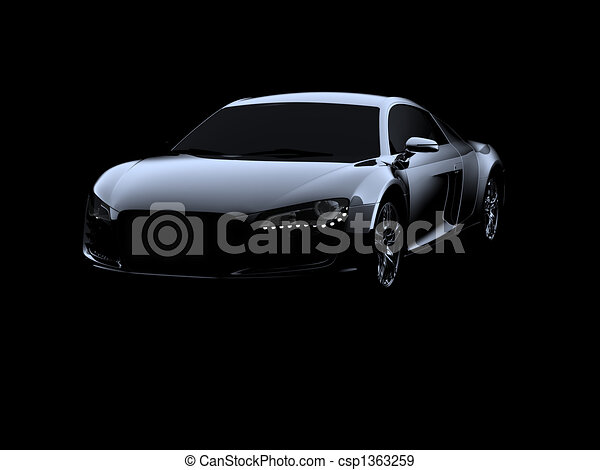 Abstract Audi R8 on black background - csp1363259