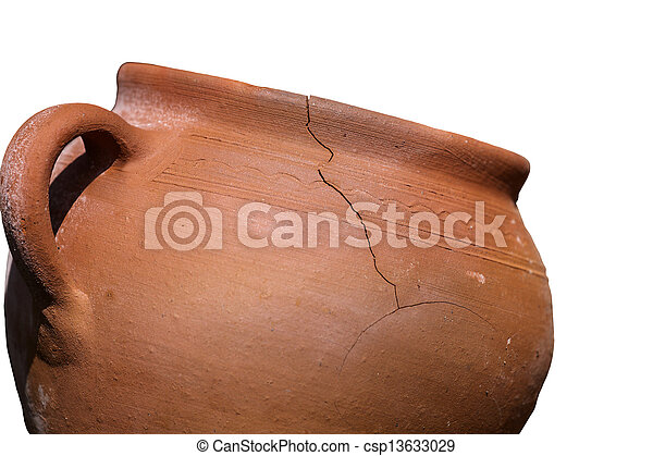 Stock Photo of Old crock - Old, cracked clay pot isolated ...