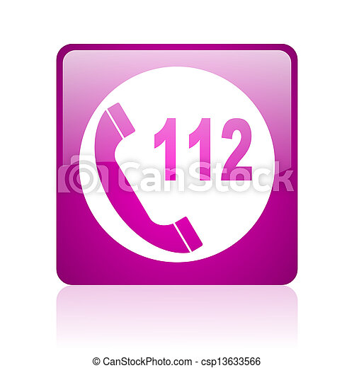 emergency call violet square web glossy icon - csp13633566
