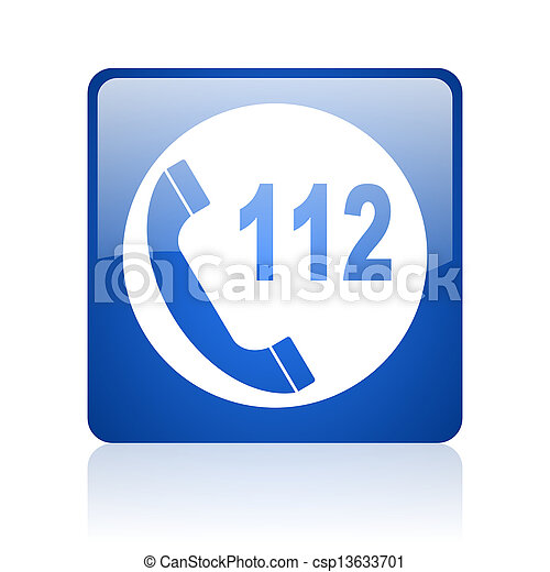 emergency call blue square web glossy icon - csp13633701