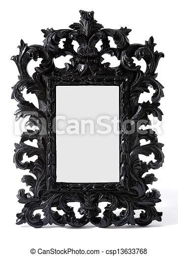 stock bild von barock schwarz gemalt geschnitzt holz spiegel rahmen csp13633768. Black Bedroom Furniture Sets. Home Design Ideas