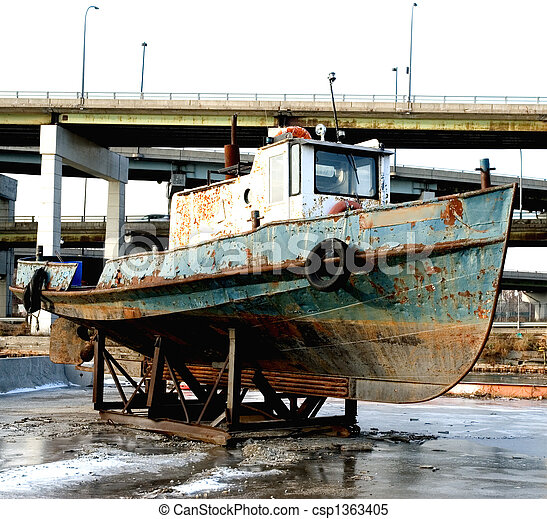 "Images of OLD RUSTY TUG BOAT - ""parked\"" old rusted tug boat ..."