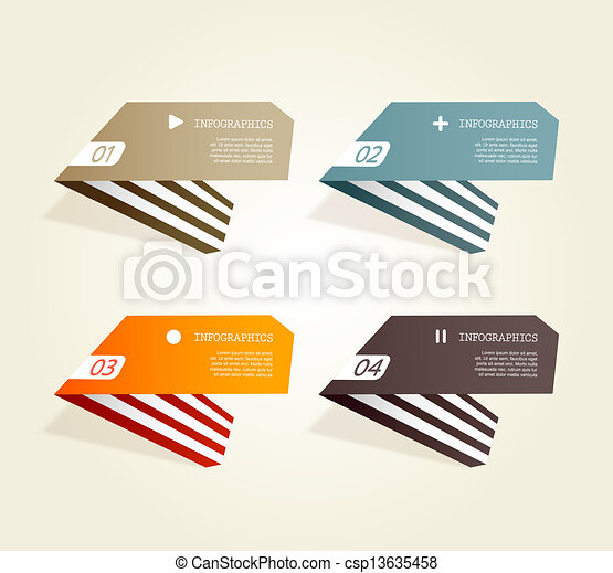 Four colored paper notes with place for your own text. - csp13635458