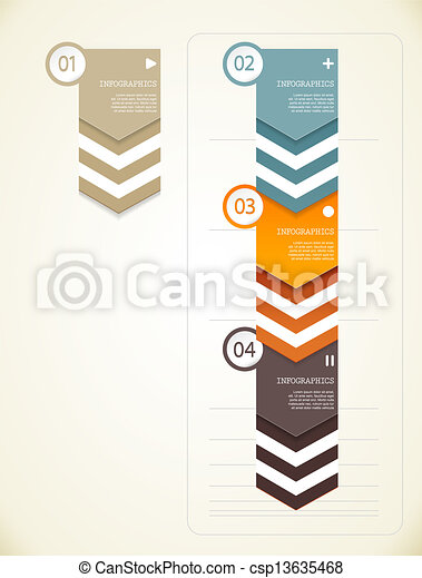 Four colored paper triangles with place for your own text. - csp13635468