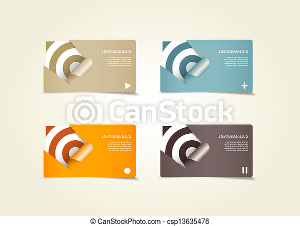 Four colored paper notes with place for your own text. - csp13635478