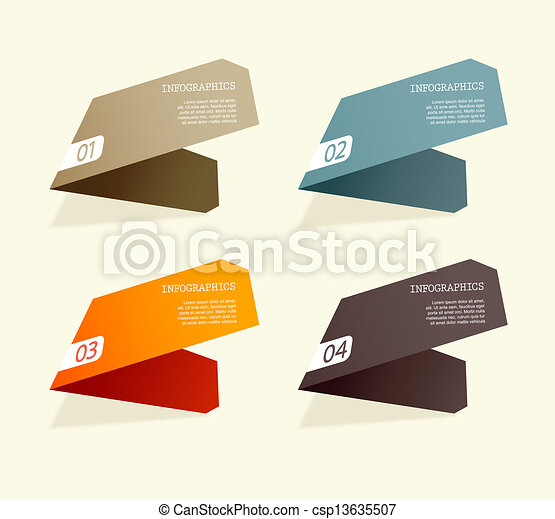 Four colored paper stripes with place for your own text. - csp13635507