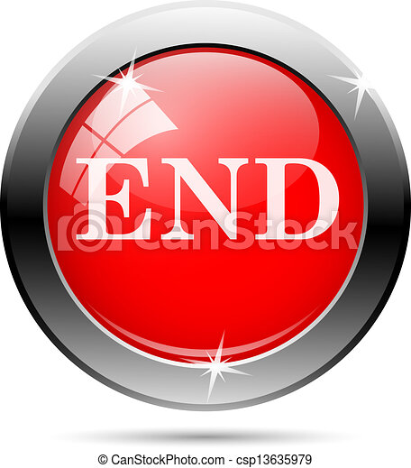 Vectors Illustration of end icon with white writing on red ...