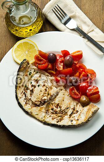 swordfish with tomatoes - csp13636117