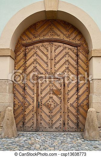 Wooden Church Door within Door - csp13638773