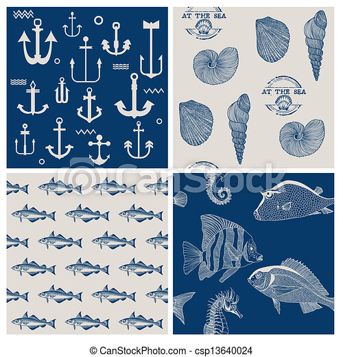 Fish and Marine Background Set - for scrapbook or design - in vector - csp13640024