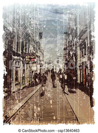 Illustration of city street. Watercolor style. - csp13640463