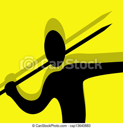 javelin throwing pictogram yellow - csp13640883