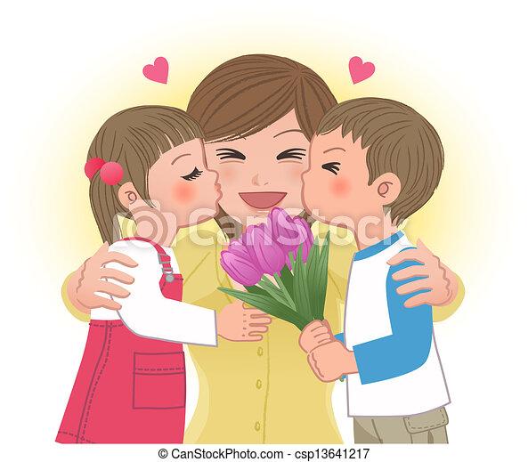 Boy and girl kissing mom - csp13641217