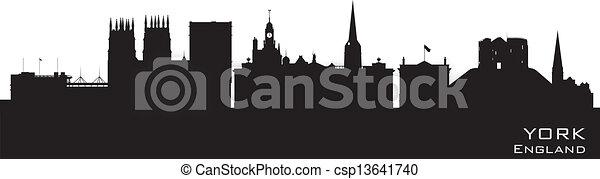 York England city skyline Detailed vector silhouette - csp13641740