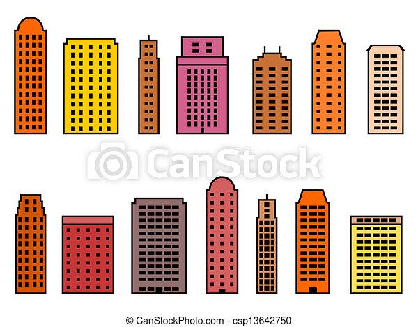 Clip Art Skyscraper Clipart clipart vector of skyscraper set city icon csp13642750