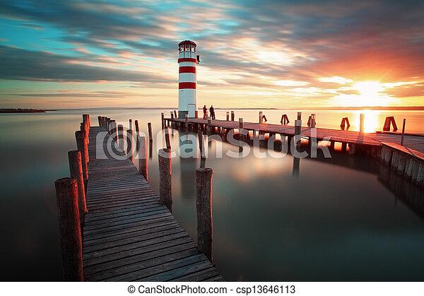 Lighthouse - Lake in Austria - csp13646113