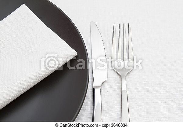 Black and white place setting - csp13646834