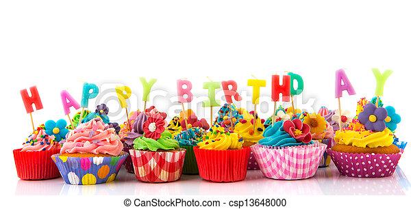 Happy birthday cupcakes - csp13648000