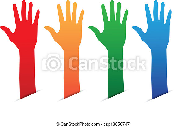 Eps Vector Of Hands Up Color Blank Tag On White
